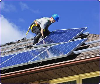 Pose de capteurs solaires sur  toit existant