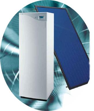 chaudière à condensation avec capteurs solaires thermiques