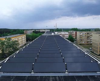 Copropriété avec un toit solaire thermique