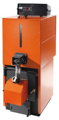 Chaudière acier à granulés de bois à rendement éleve et trémie superposée