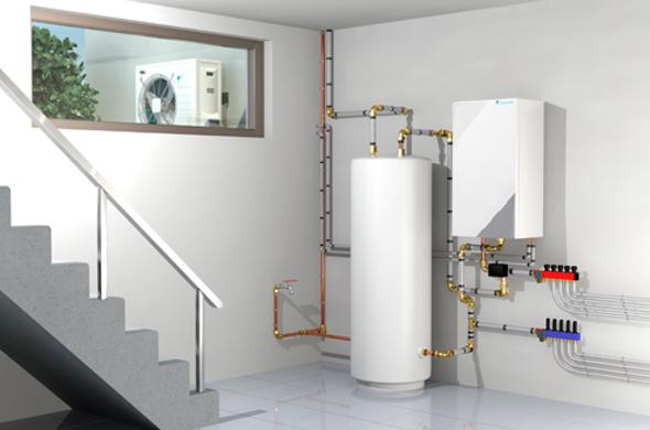 La pompe à chaleur air-eau avec unité extérieure et ballon d'eau chaude intérieur